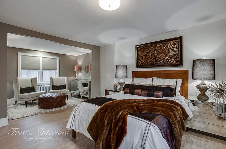Luxurious heritage home master bedroom design complete with renovated boutique master lounge area.