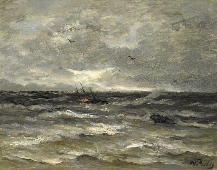 Hendrik Willem Mesdag (1831-1915) Brandend schip op zee. (Coll. Simonis&Buunk, Ede)