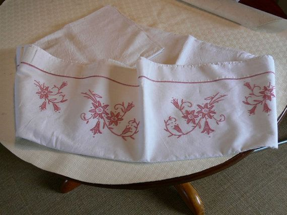 French vintage large and lovely hand embroidered bed by VeriGoude