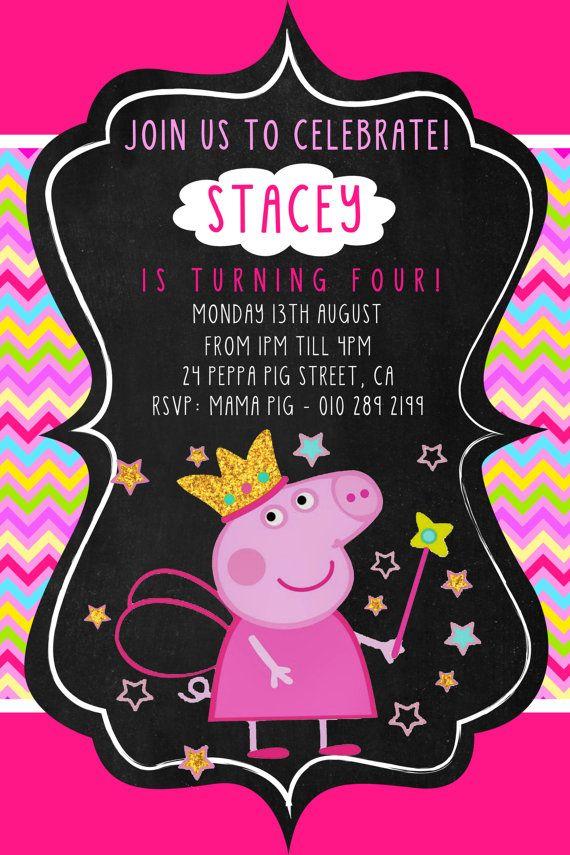 Peppa Pig Invitation Chevron Peppa Pig Party by BumblesDesign