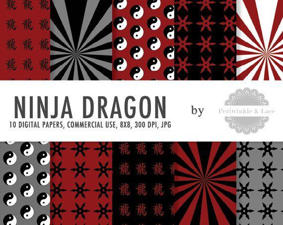 DESCRIZIONE DI ARTICOLO:    Un set di 10 carte digitali di alta qualità con rosso, Ninja bianco, nero e grigio ispirato modelli (Yin-Yang, stelle shuriken/ninja, raggi di sole, personaggio del drago)    -----------------------------------------------------    ACQUISTO COMPRENDE:    1 cartella zip 10 pz 8 x 8 digitale di documenti in formato JPEG 300 DPI    Al momento dellacquisto, riceverai une-mail da Etsy contenente un link alla pagina di download del vostro ordine.    È inoltre possibile…