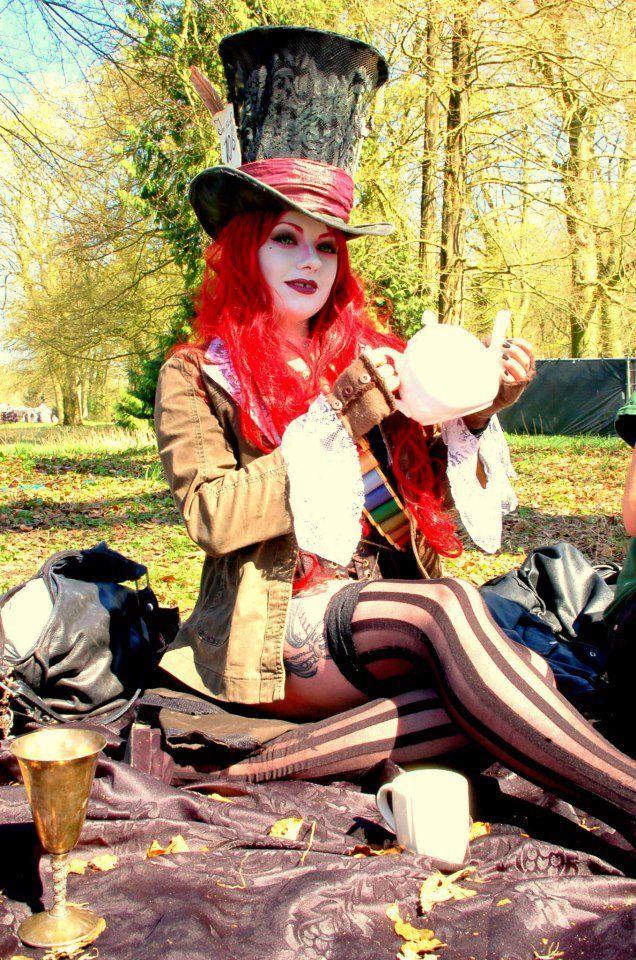 Female Mad Hatter Costume. Elf Fantasy 2013.