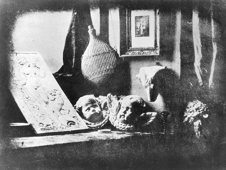 """PHOTOGRAPHY~ LOUIS-JACQUES-MANDÉ DAGUERRE, Still Life in Studio, 1837. 6 1/4"""" x 8 1/4"""". Daguerreotype. Collection Société Française de Photographie, Paris."""