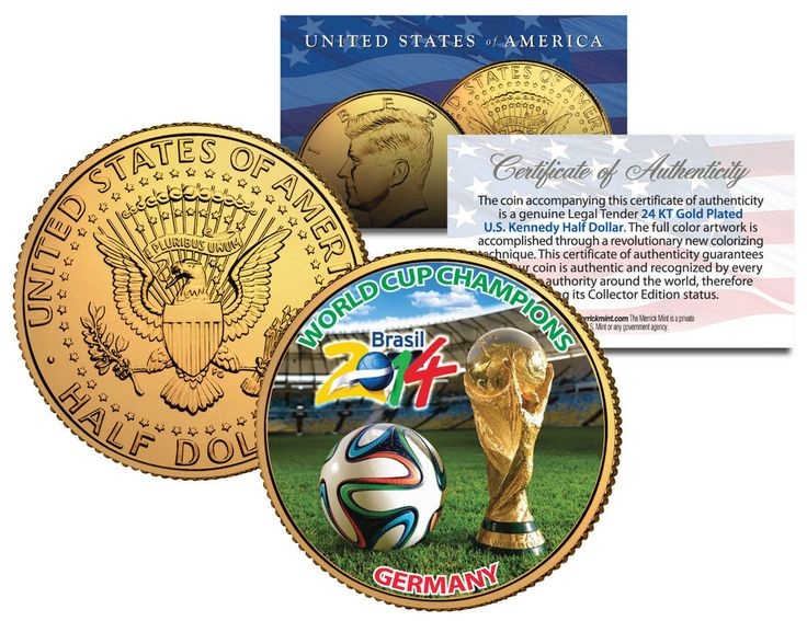 GERMANY CHAMPIONS - 2014 FIFA WORLD CUP BRAZIL 24K GOLD JFK Half Dollar US Coin  | eBay