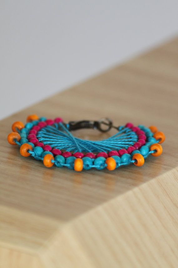 Turquoise pink orange wooden beaded earring. by DeaJewelleryStore