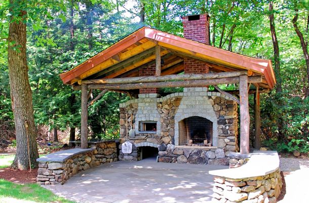Pizza-oven. Nice touch. Maybe a round stone built Fire Pit / BBQ in the middle as well?