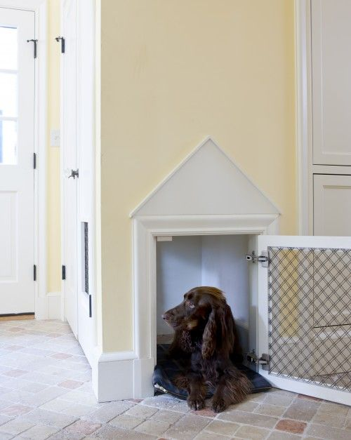 A built-in dog crate. - cut drywall the size you need for your pet - line inside space with drywall, paint. Frame outside with molding and add 2 strips of decorative molding to form triangular pediment, paint molding & inside pediment area. attach framed grill with hinges. So much more convenient than those ugly wire cages