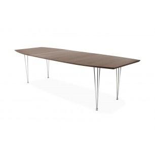 Rovigo walnoot eettafel uitschuifbaar. Het mooie vind ik dat het blad lijkt te zweven. Ik heb wel enige twijfel bij deze tafel of hij niet te iel oogt voor de ruimte.