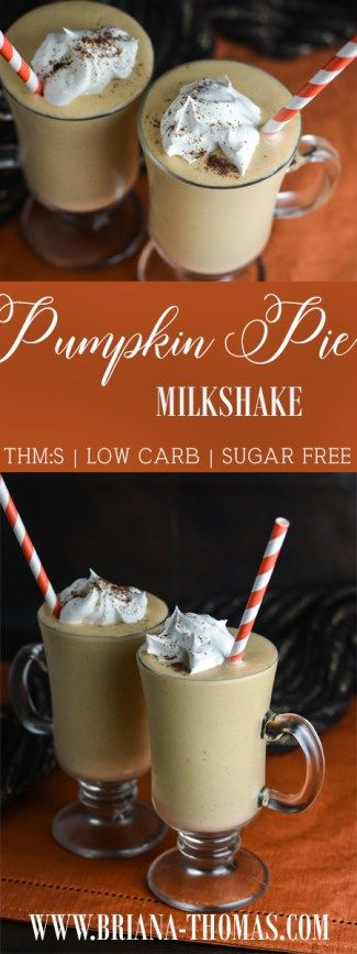 Pumpkin Pie Milkshake - this milkshake includes a secret veggie ingredient (frozen cauliflower!) to make it extra creamy with few calories! - Trim Healthy Mama S, or FP if you share with someone (it makes a LOT!) - low glycemic - sugar free - gluten free - egg free - nut free - THM:S or FP