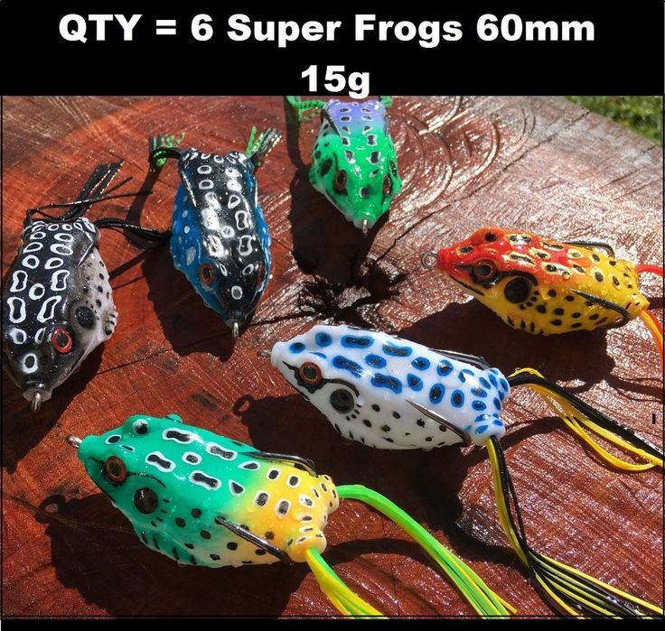 6 Large 60mm Popper Soft Frog Fishing Lure Surface Barra Lure Cod Trout Bass !!