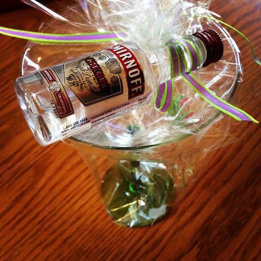 Martini Glass And Mini Vodka Bottle Party Favors Via