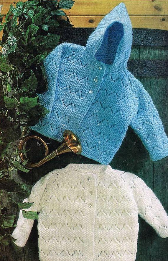baby cardigan vintage knitting pattern PDF instant par Ellisadine