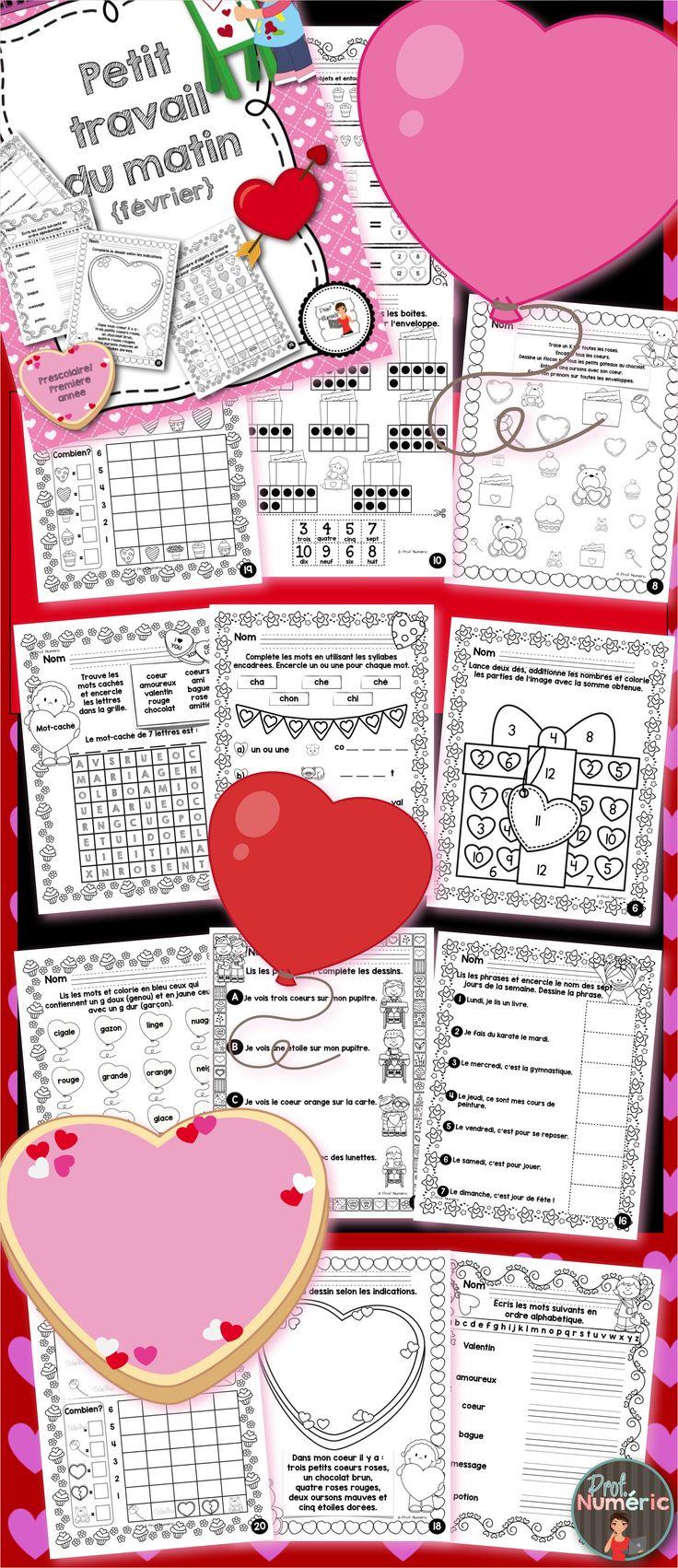 20 Pages d'exercices pour les élèves de 1ère année du primaire (kindergarden) ou du préscolaire. Les activités sont sur le thème de la St-Valentin.