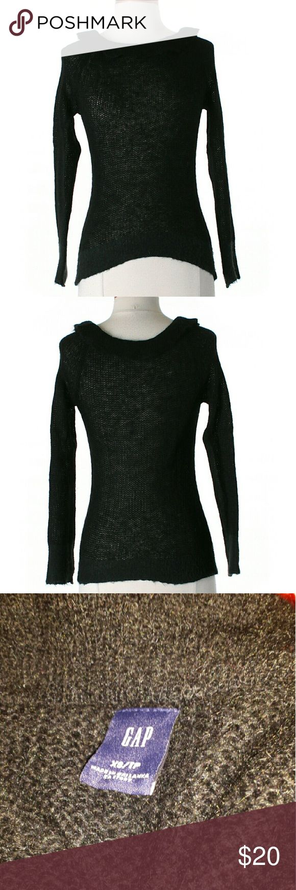 *$10 SALE* Gap Black Sweater 40% Nylon 60% Mohair  Very light sweater.  Great as a cover up for the beach,  or a bonfire.  Small open knit design.  M4  #gap #black #knit #sweater #coverup #summer #bonfire #beach #light #scoopneck Gap Sweaters Crew & Scoop Necks