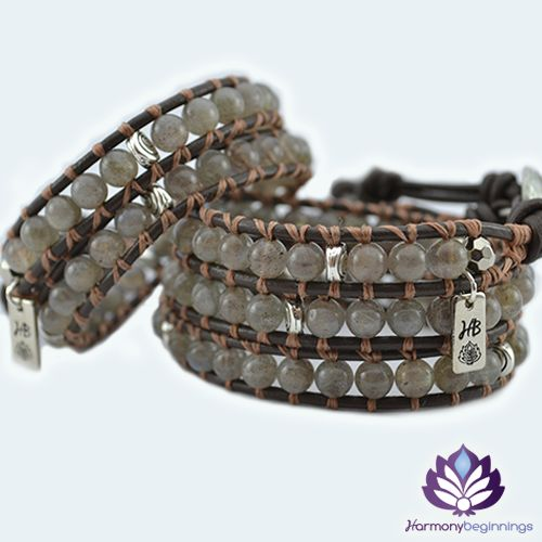 The Transformation wrap bracelet has been designed with Labradorite Gemstones. Created to aid you find your true path in life, promoting relief from anxiety and hopelessness, bringing enthusiasm, self-confidence and inspiration in your life. Find perseverance, strength and enhanced intuition through times of change.  On chocolate genuine leather (or vegan alternative*), finished with a unique pewter button clasp. Can be purchased in two ...