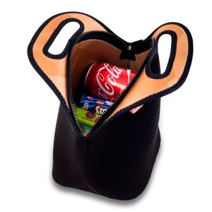 The Neoprene Lunch Bag fro Nordic By Nature, works perfectly as a lunch bag for work, school or the beach. The Lunch tote has a polygonal design pattern on the inside, and a subtle black outside. Heavy duty zipper that will keep your food cold (or warm). The bag insulates and will keep the temperature for up to several hours.