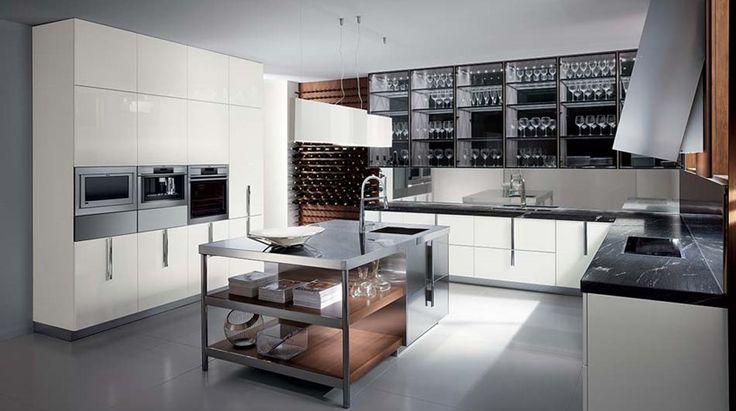 Küche mit Kochinsel Ernestomeda Stahl
