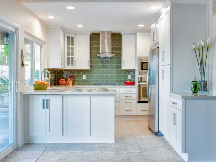 Mosaic Tile For Kitchen Ideas with white cabinet for small space