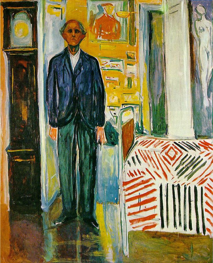 Edvard Munch, Self Portrait: Between Clock and Bed 1940-42; Oil on canvas, 149.5 x 120.5 cm; Munch Museum, Oslo