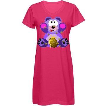 Purple Bear w/ Honey Bees Nightshirt