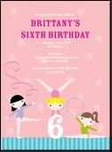 Gymnast Stars:BloomBirthday Party Invitations, Birthday Parties Invitations