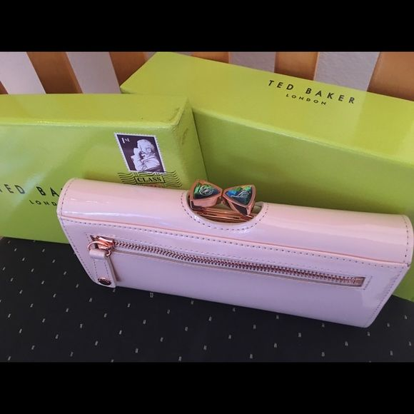 SALE ~Ted Baker Pink Patent Leather Wallet ~ NEW! This Patent Leather Pink Ted Baker Wallet is adorable with its pearlescent crystal kisslock  bow clasp and black patterned inside ~ comes with box ~ bought at Bloomingdales ~ BRAND NEW  Ted Baker Bags Wallets