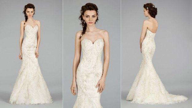 Vestito da sposa con gonna a strati Lazaro