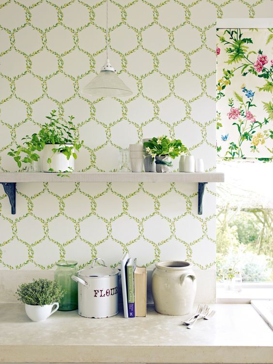 38 best images about kitchen wallpaper ideas on pinterest for Kitchen wallpaper designs