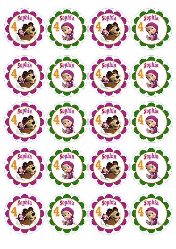 MASHA y toppers Cupcake oso personalizadas / por PartyByMe en Etsy