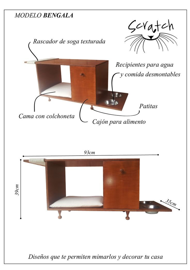 Mueble para gatos. Modelo BENGALA Todo en uno! Diseño para mimarlos y para tu casa