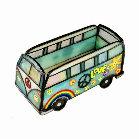 Stained Glass Business Card Holder Hippie Van Table Ornament In 2020 Bohemian Painting Business Card Holders Hippie Van