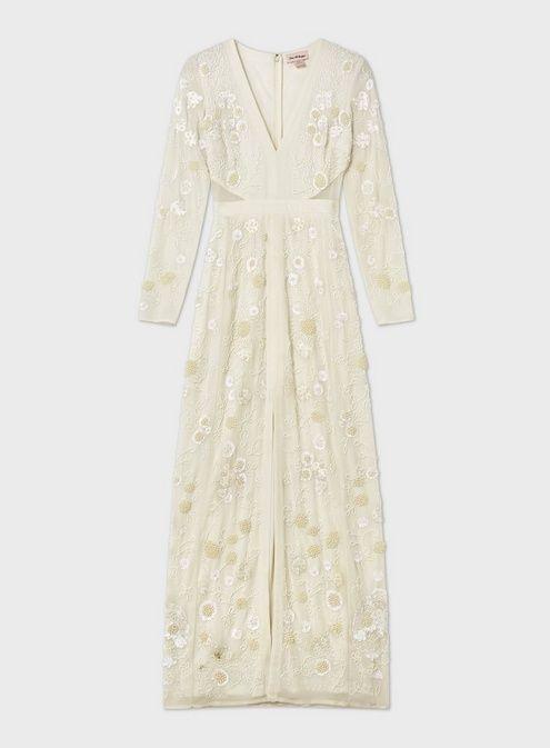 2ed236fbc84bc Ivory Embroidered Front Split Maxi Dress in 2019   Vestido manga ...