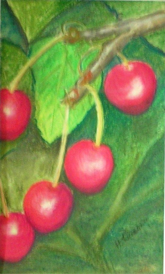Kirschen, Pastell, 24x30cm