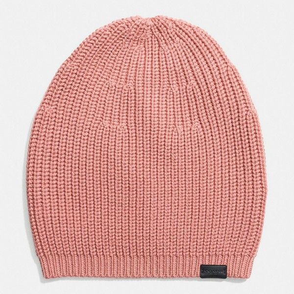 Coach Merino Knit Hat ($95) ❤ liked on Polyvore featuring accessories, hats, dusty rose, knit hat, ribbed knit hat, ribbed hat, coach hat and merino hat