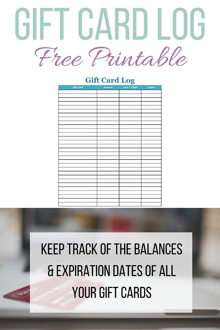 Gift Card Log Free Printable.  Having trouble keeping track of the balances and expiration dates of your gift cards? Use this free printable Gift Card Log to keep track of them all!