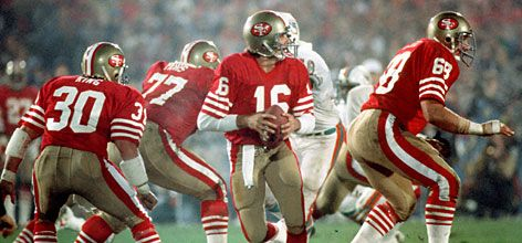 Joe Montana led the San Francisco 49ers to four Super Bowl titles during the 1980s, including this defeat of Miami in Super Bowl XIX. Description from usatoday30.usatoday.com. I searched for this on bing.com/images