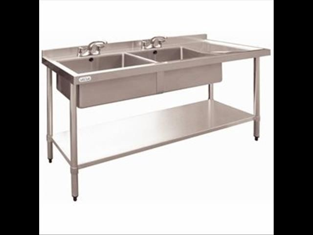 New Stainless Steel Sink Double Bowl 1800x600 Restaurant Kitchen