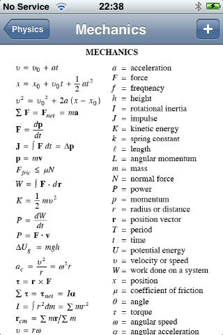 high school physics formula