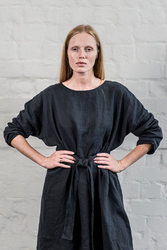 Charcoal oversize loose fitting linen dress by notPERFECTLINEN