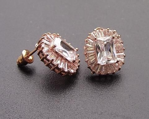 Rose Gold Art Deco Style Stud Earrings Josephine