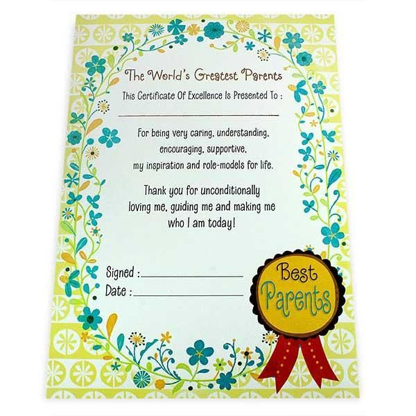 Greatest Parents Certificate The world's greatest parents this certificate of excellence is presented to: for being very caring understanding encouraging supportive.my inspiration and role models for life thank you for unconditionally loving me.guiding me and making me who I am today! Best Parents... Size : 13 x 9 inch. | Rs. 124 | Shop Now | https://hallmarkcards.co.in/collections/shop-all/products/shop-personalised-stationery