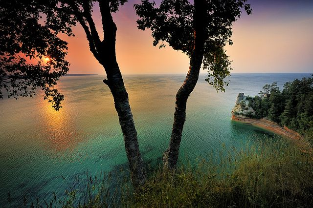 """Miners Castle Sunset"" - Pictured Rocks National Lakeshore - Munising, Michigan"