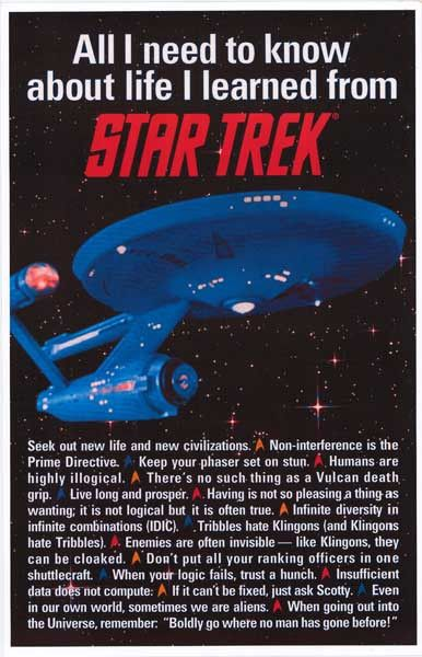 """""""Even in our own world, sometimes we are aliens."""" This and other nuggets of wisdom can be found on this great Star Trek poster! Ships fast via Warp Factor 6 :) 11x17 inches. Boldly Go and check out th"""