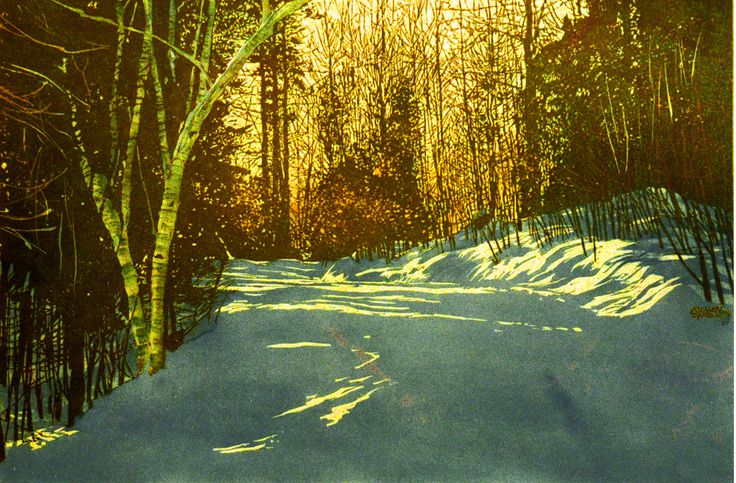 "late day sun britannia rd  22"" x 30"" micheal zarowsky watercolour on arches paper - private collection"