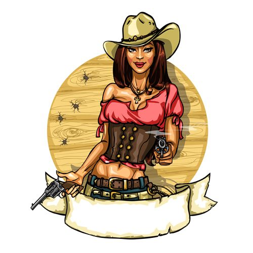 Cowboy girl with vintage labels vector 03