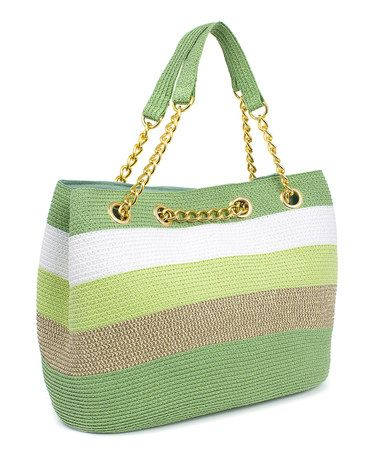 Another great find on #zulily! Green & White Wide Stripe Satchel #zulilyfinds