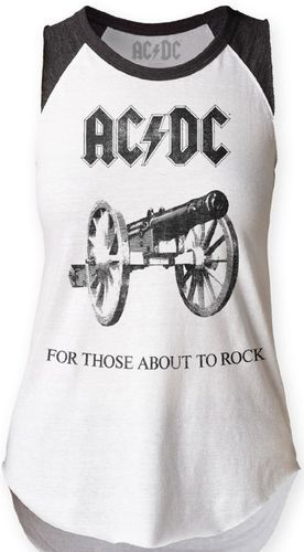 AC/DC Women's Vintage Sleeveless T-shirt - ACDC For Those About to Rock We Salute You Album Cover Artwork. White with Black Raglan Shirt