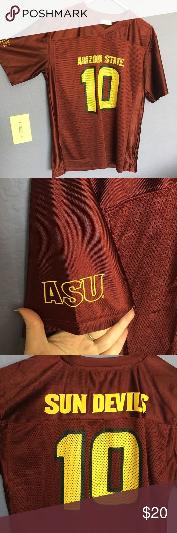 ASU jersey Maroon and Gold Arizona State University #10 jersey in great condition. Boys size XL but fits like a woman's Small! Perfect for college game day! ProEdge Other