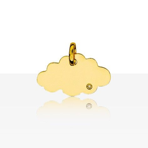 Notre coup de coeur ! Très jolie médaille nuage en Or jaune 18 carats serti d'un…