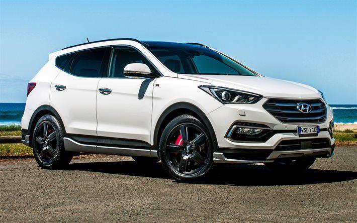 Hyundai Santa Fe, 2016, crossover, white Hyundai, tuning Santa Fe, coast